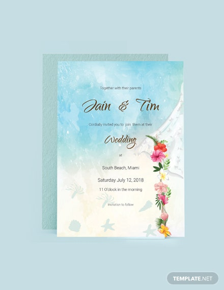 Simple Beach Wedding Invitation Card Template