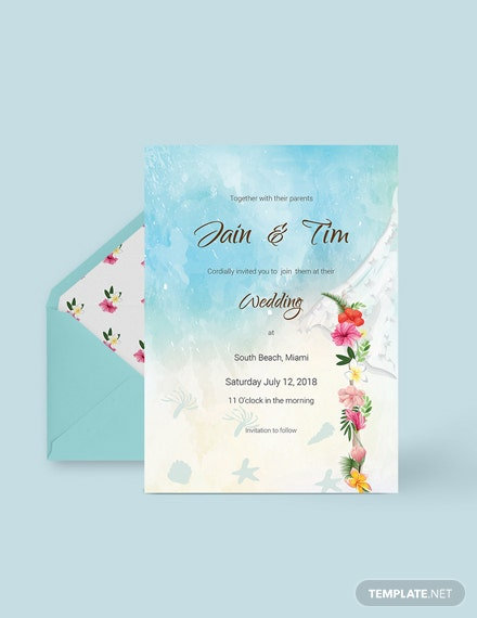 Download Beach Wedding Invitation Card Template