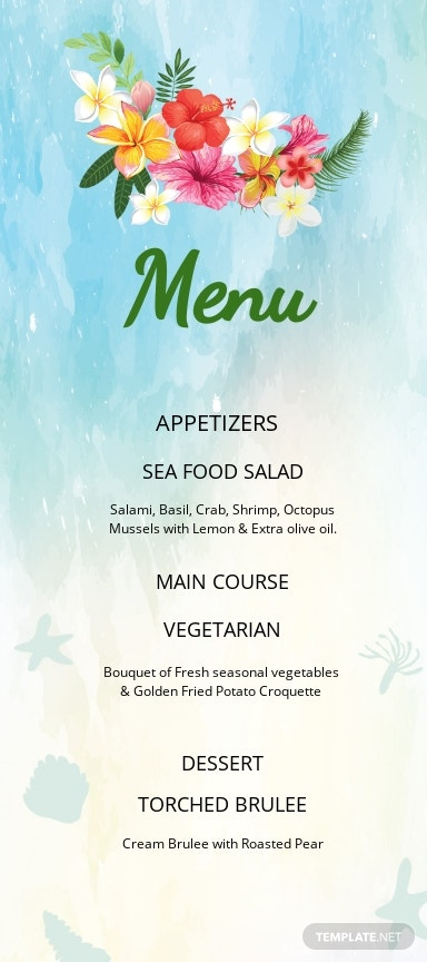 Beach Wedding Menu Card Template