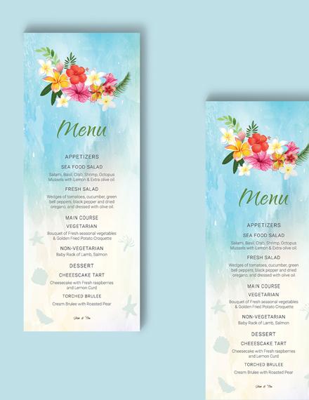 Download Beach Wedding Menu Card Template