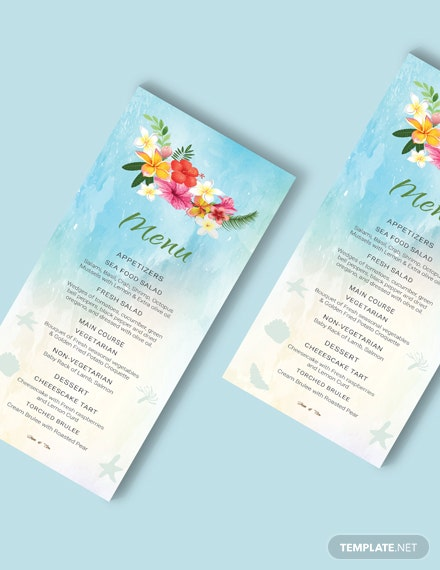 Simple Beach Wedding Menu Card Template