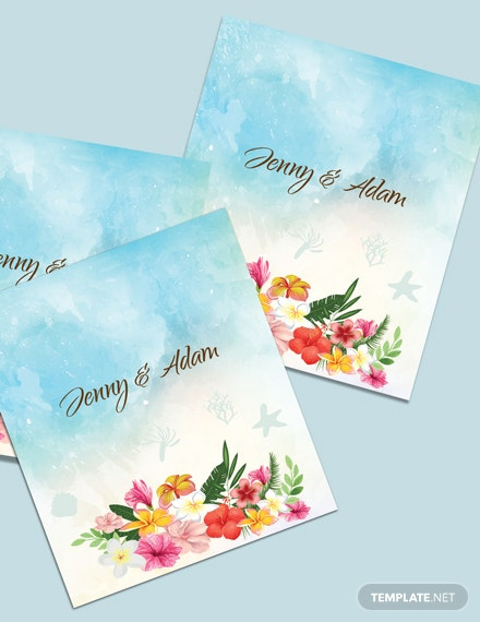 Download Beach Wedding Place Card Template