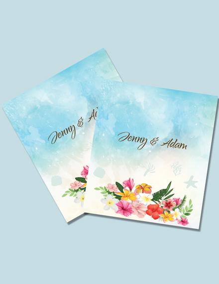 Simple Beach Wedding Post Card Template