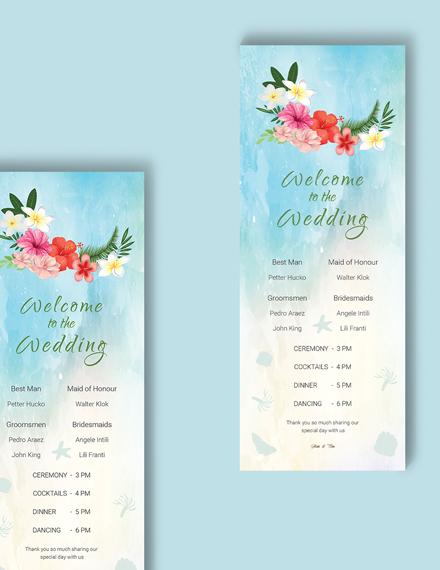 Download Beach Wedding Program Card Template