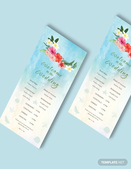 Simple Beach Wedding Program Card Template
