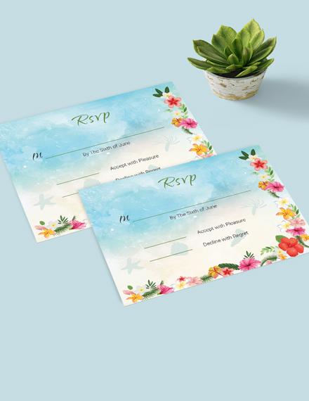 Simple Beach Wedding Rsvp Card Template
