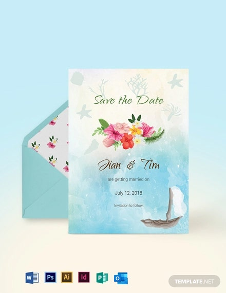 Beach Wedding Save The Date Card Template