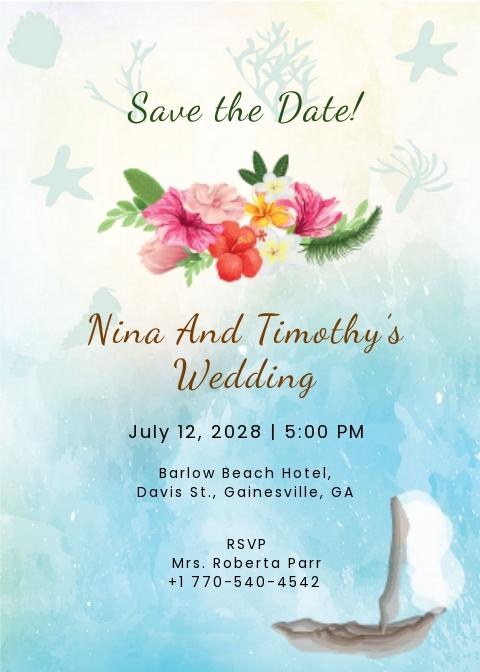 Beach Wedding Save The Date Card Template.jpe