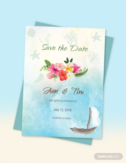 Simple Beach Wedding Save The Date Card Template