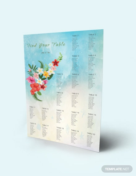 Download Beach Wedding Seating Chart Template
