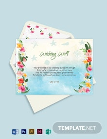 Beach Wedding Wishing Well Card Template