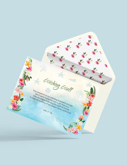 Download Beach Wedding Wishing Well Card Template