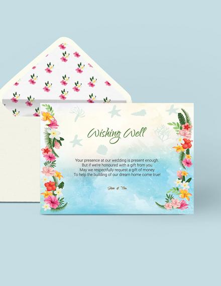 Simple Beach Wedding Wishing Well Card Template