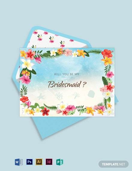 Beach Wedding Will You Be My Bridesmaid Card Template
