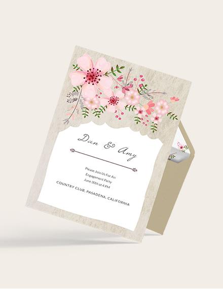 Sample Vintage Floral Wedding Engagement Card