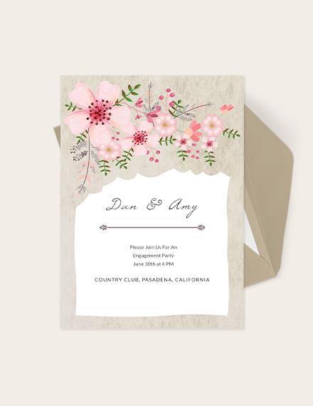 Vintage Floral Wedding Engagement Card Download