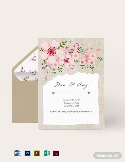 VIntage Floral Wedding Engagement Card Template