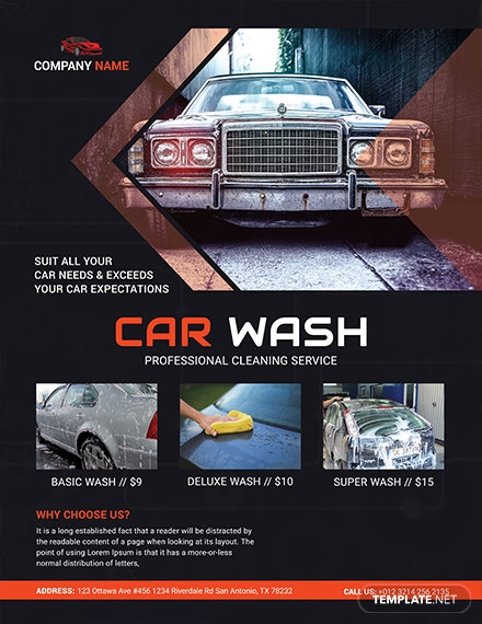 car wash business flyer template 1x
