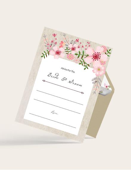 Simple Vintage Floral Wedding Advice Card