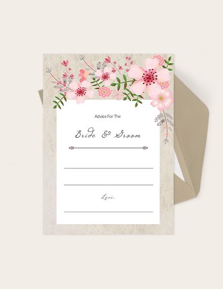 Vintage Floral Wedding Advice Card Download
