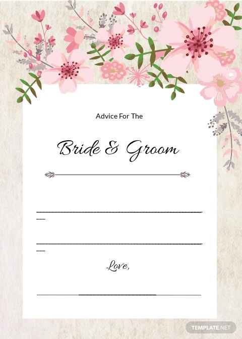 Vintage Floral Wedding Advice Card Template