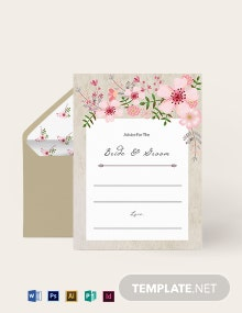Vintage Floral Wedding Advice Card Template