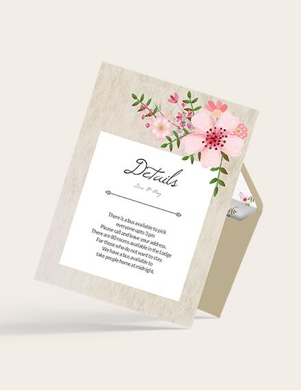 Sample Vintage Floral Wedding Details Card