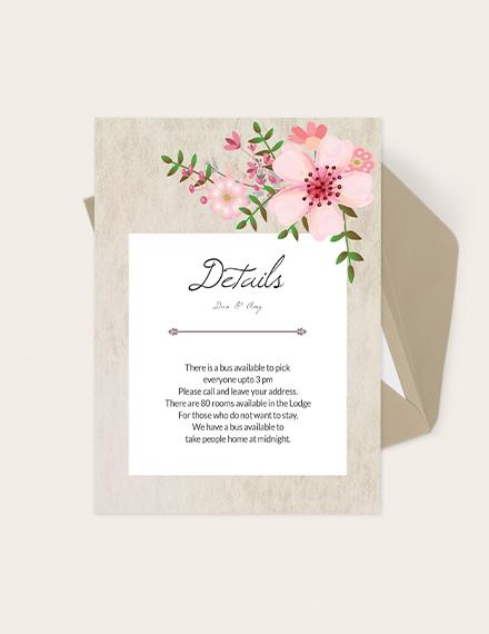 Vintage Floral Wedding Details Card Download