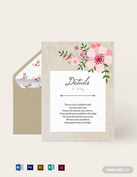 Vintage Floral Wedding Details Card Template