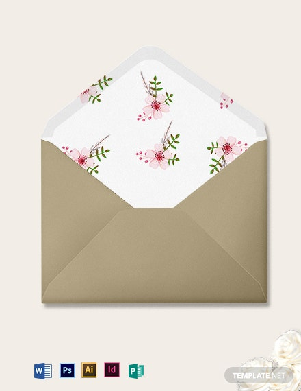 Vintage Floral Wedding Envelope Template