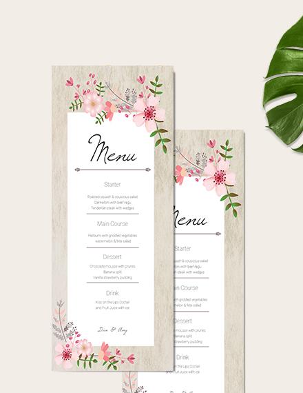 Sample Vintage Floral Wedding Menu Card