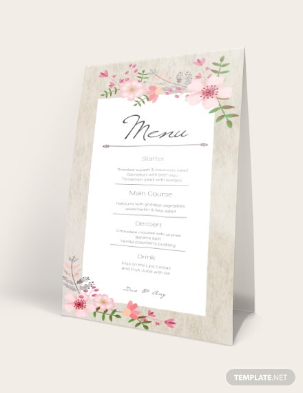 Vintage Floral Wedding Menu Card Download