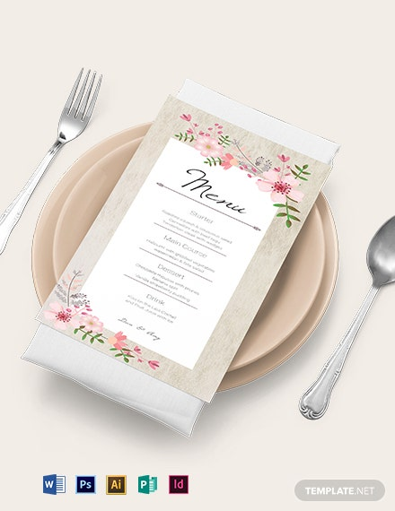 vintage floral wedding wedding menu card