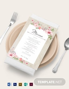 Vintage Floral Wedding Menu Card Template