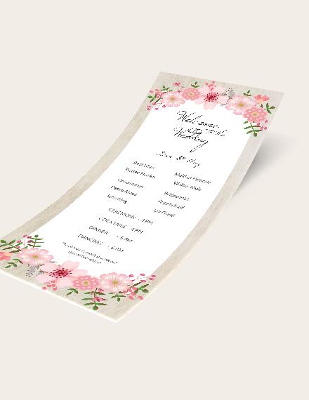 Simple Vintage Floral Wedding Program Card