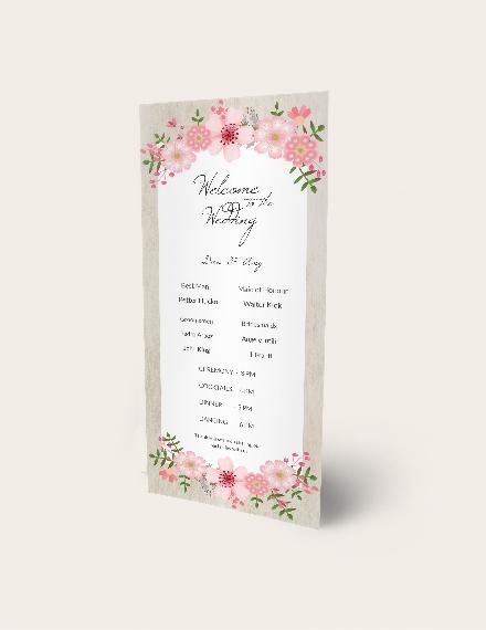 Vintage Floral Wedding Program Card Download