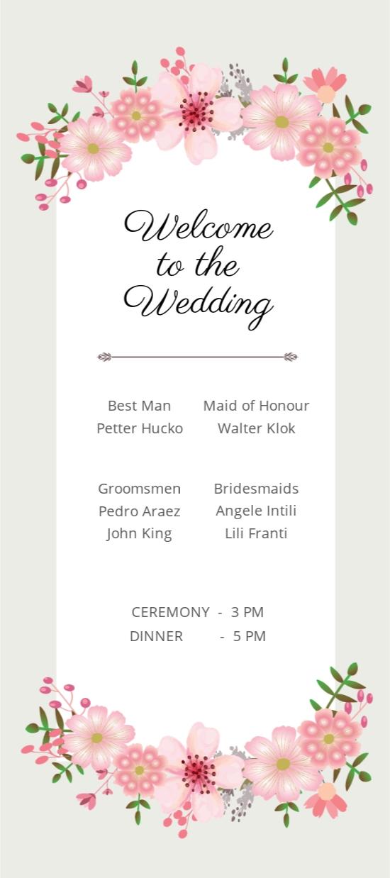 Vintage Floral Wedding Program Card Template