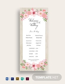 Vintage Floral Wedding Program Card Template