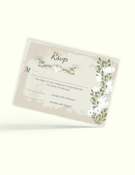 Sample Vintage Wedding  RSVP Card