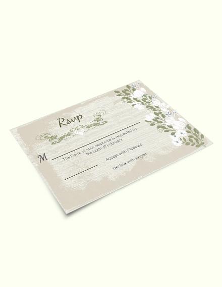 Vintage Wedding  RSVP Card Download