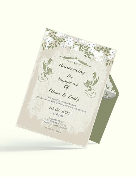 Simple Vintage Wedding Engagement Card
