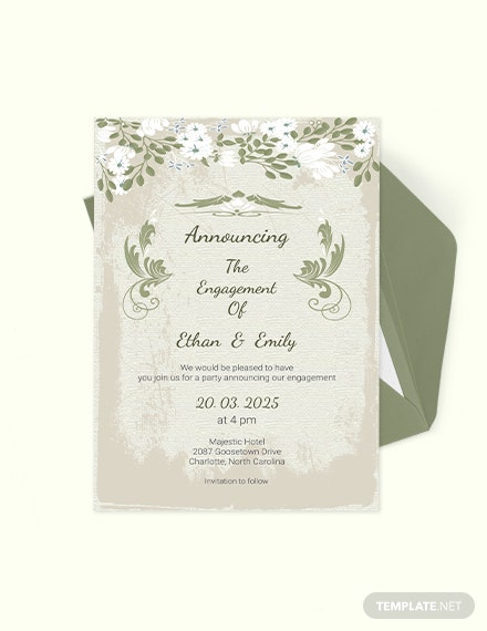 Vintage Wedding Engagement Card Download