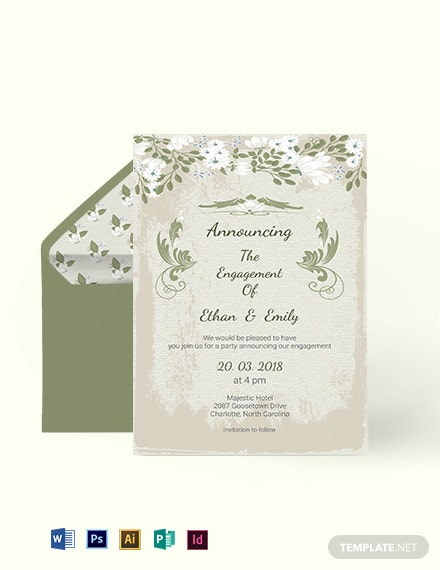 Vintage Wedding Engagement Card Template