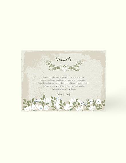 Sample Vintage Wedding Details Card