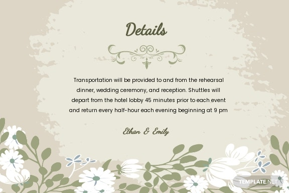 Vintage Wedding Details Card Template