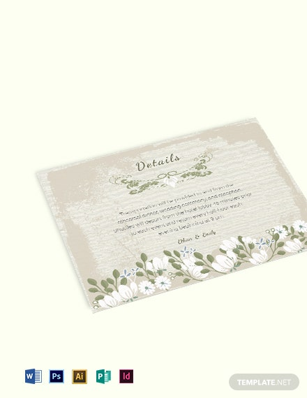 Vintage Wedding Details Card Template