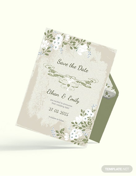 Sample Vintage Wedding save The Date Card