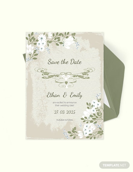 Vintage Wedding save The Date Card Download