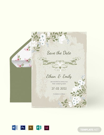 Vintage Wedding save The Date Card Template
