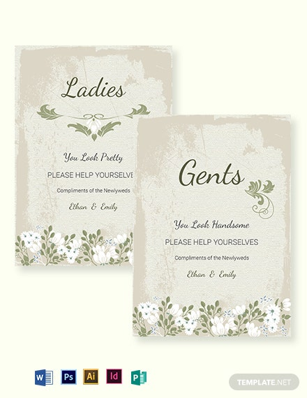 Vintage Wedding Bathroom Signs Card Template